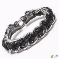 Мужские браслеты Twin-Dragon из стали и кожи для любителей роскошной экзотики