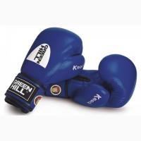 Перчатки боксерские синие лицензированные Федерацией бокса