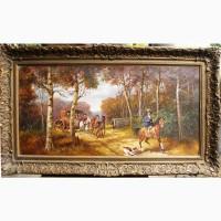 Продам антикварную живопись Лесной пейзаж с каретой