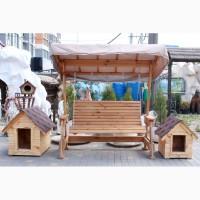 Деревянные качели для сада, оригинальный дизайн