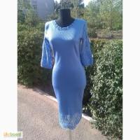 Вязаное авторское платье, с ажурными рукавами и каймой, с ввязанным бисером