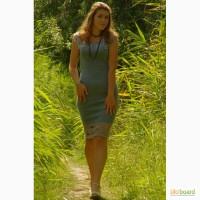 Вязаное платье, с красивой отделкой верха и низа крючком, в наличии и под заказ